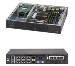 Supermicro SuperServer E300-8D, Mini-1U with Intel Xeon processor D-1518, System on Chip.